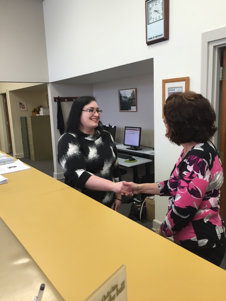 Nancy Spagnolo, elected on Monday, May 4th, was sworn in today by Town Clerk, Nancy McCarthy, at Bethany Town Hall.  She is filling a vacancy left by John Ford IV who was appointed to the Board of Finance.  Rosemary DeFilippo was temporarily appointed to serve during the vacancy.